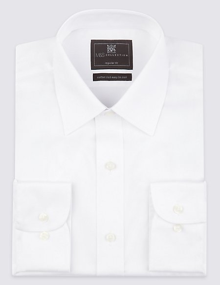 2in Longer Cotton Rich Twill Regular Fit Shirt