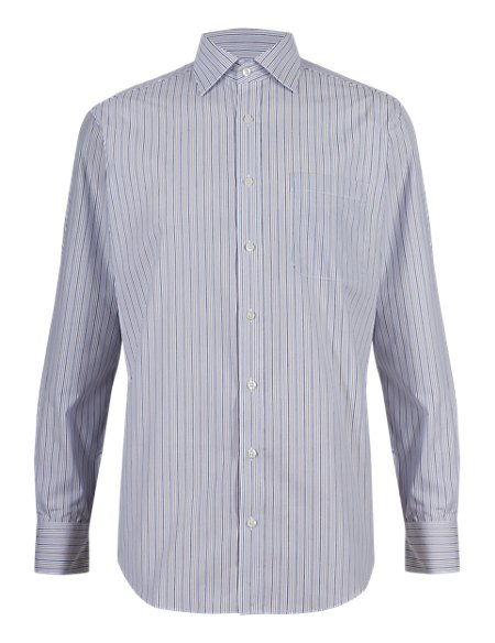 2in Longer Cotton Rich Easy to Iron Striped Shirt