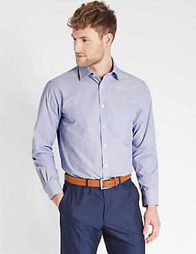 Marks and Spencer 2in Longer Cotton Rich Regular Fit Shirt royal blue Order Cheap Price FyaLZuNOU
