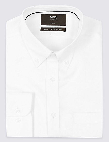 Pure Cotton Slim Oxford Shirt with Pocket