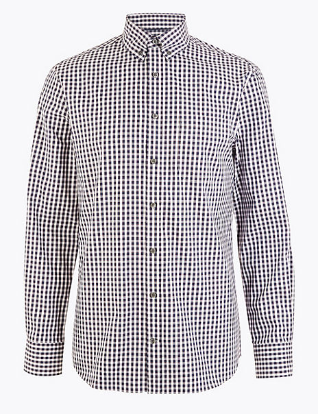 Tailored Fit Gingham Easy to Iron Shirt