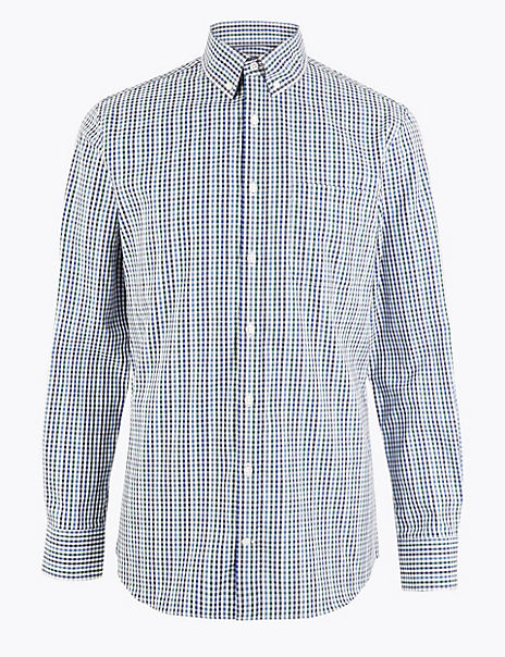 Tailored Fit Mini Gingham Easy Iron Shirt