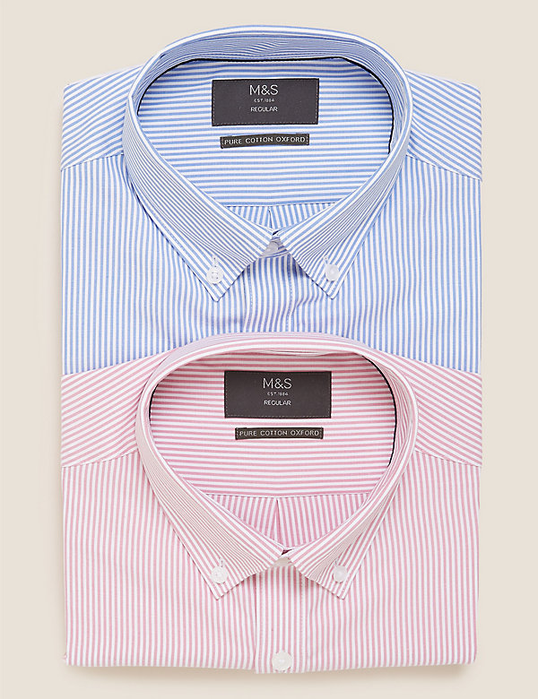 2 Pack Regular Fit Striped Oxford Shirts