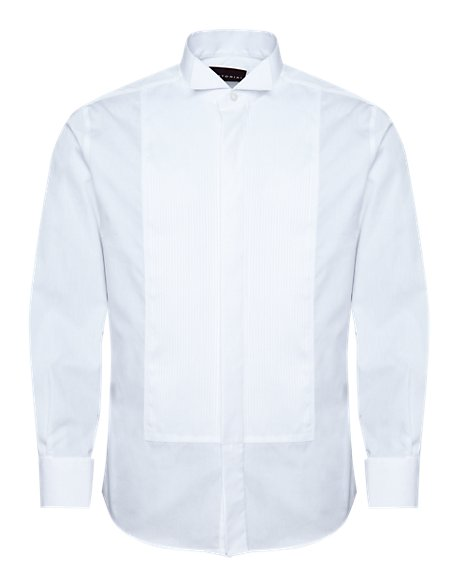 2in Shorter Pure Cotton Pleated Dress Shirt