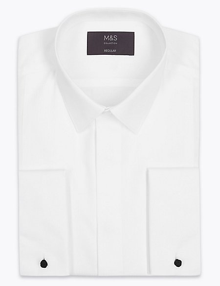 Cotton Blend Regular Fit Dinner Shirt