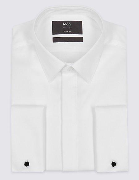 Cotton Blend Tailored Fit Dinner Shirt