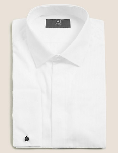Cotton Blend Tailored Fit Dinner Shirt