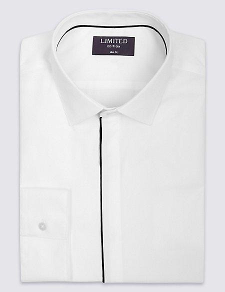 Cotton Rich Slim Fit Dinner Shirt