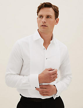 Pure Cotton Tailored Fit Dinner Shirt, WHITE, catlanding