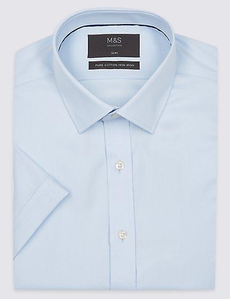 Short Sleeve Non-Iron Twill Slim Fit Shirt