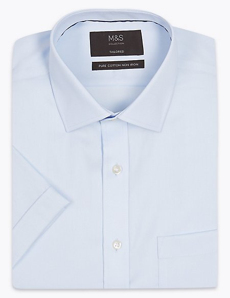 Short Sleeve Non-Iron Twill Tailored Fit Shirt