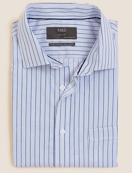 Pure Cotton Regular Fit Striped Short Sleeve Shirt