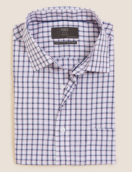 Regular Fit Checked Pure Cotton Shirt