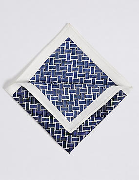 Pure Silk Lattice Print Pocket Square