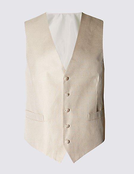 Pure Silk Five Button Waffle Waistcoat