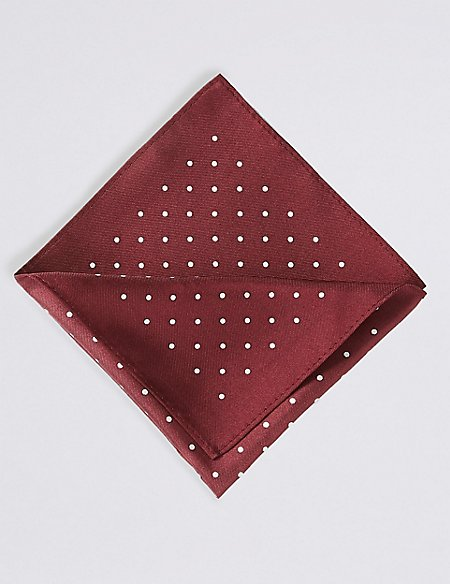 Pure Silk Spot Print Pocket Square