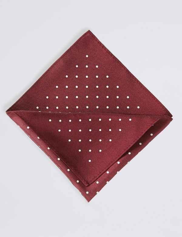 79e0a00d67e43 Pure Silk Spot Print Pocket Square