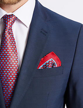 Pure Silk Elephant Print Pocket Square