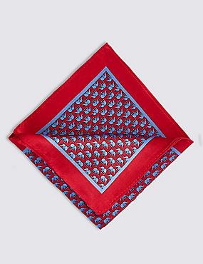 Pure Silk Elephant Print Pocket Square