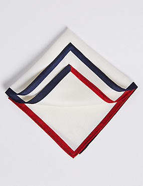 Pure Silk Contrast Border Pocket Square