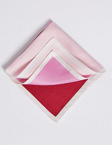 Pure Silk Colour Block Pocket Square