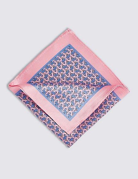 Pure Silk Flamingo Print Pocket Square