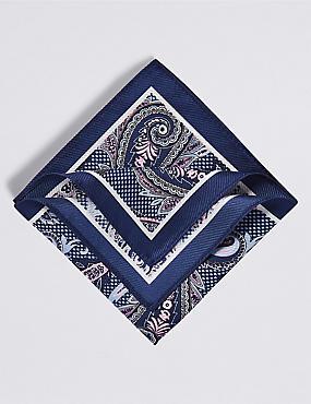 Pure Silk Paisley Print Pocket Square