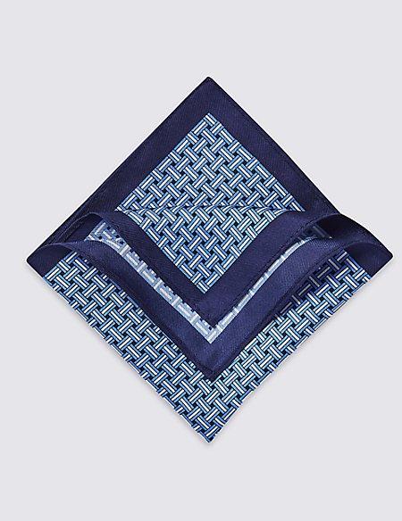 Pure Silk Lattice Print Pocket Square