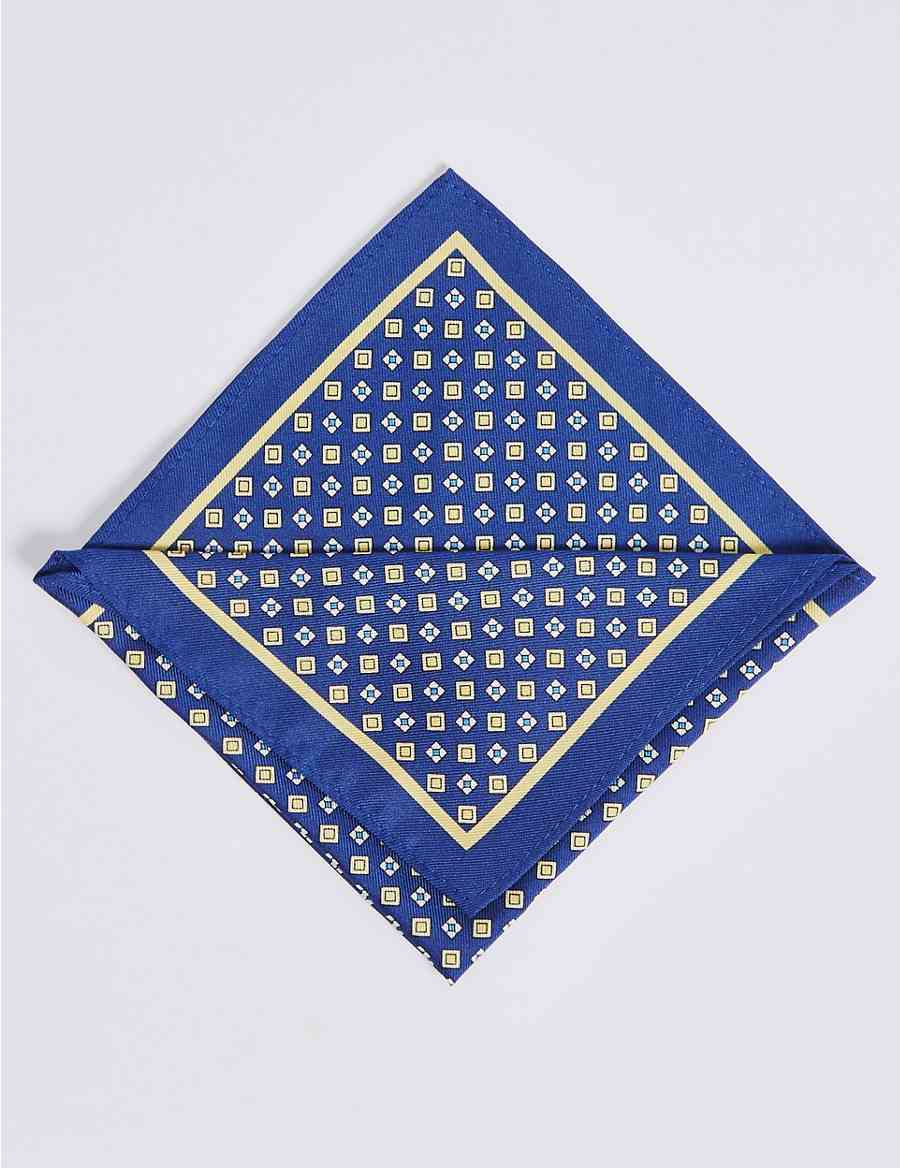 c3144727d4 Pure Silk Geometric Print Pocket Square | M&S Collection | M&S