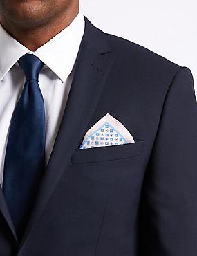 Pure Silk Geometric Print Pocket Square