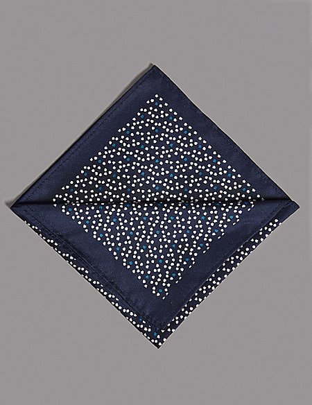 Pure Silk Micro Star Print Pocket Square