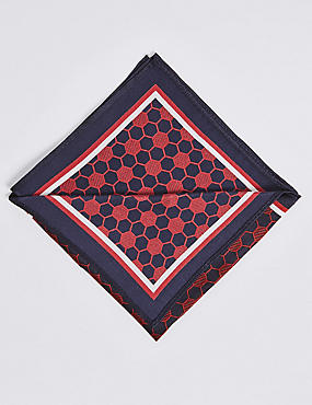 Pure Silk Geometric Print Pocket Square