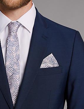 Pure Silk Leaf Print Pocket Square