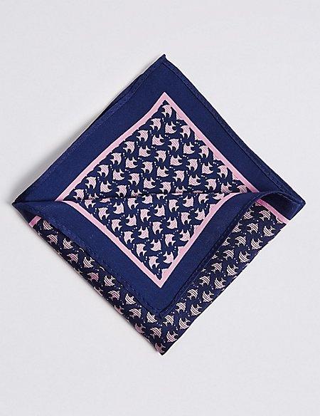 Pure Silk Flat Fish Print Pocket Square