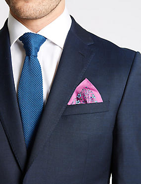 Pure Silk Ditsy Floral Print Pocket Square
