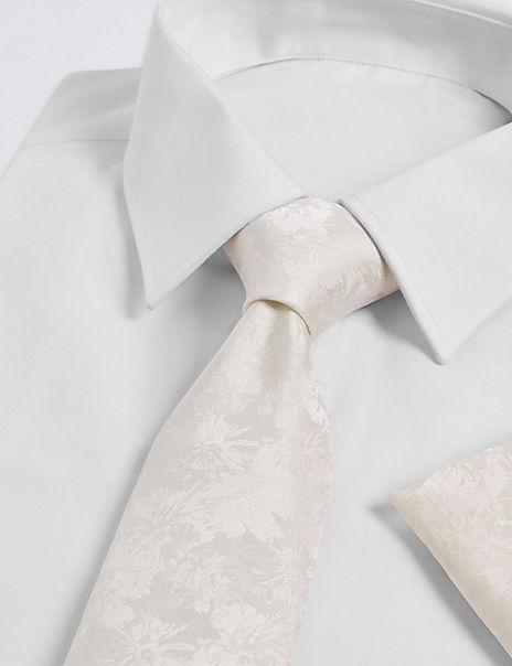 Pure Silk Floral Tie & Pocket Square Set
