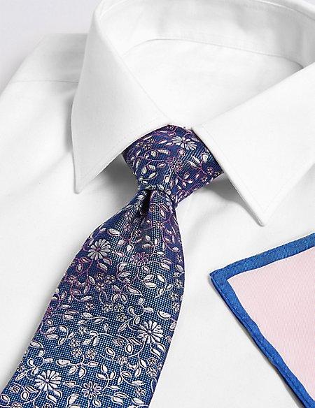 Floral Tie, Hank & Cufflink Set
