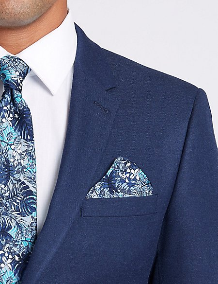 Pure Silk Tropical Leaf print Pocket Square
