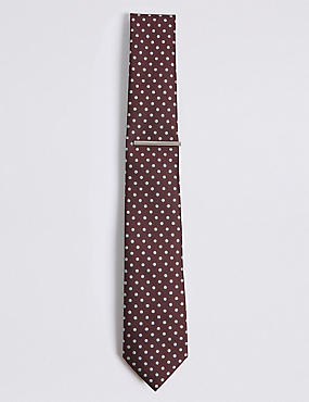 Spotted Tie & Pin Set