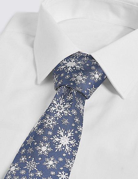 Snowflake Sparkle Christmas Tie