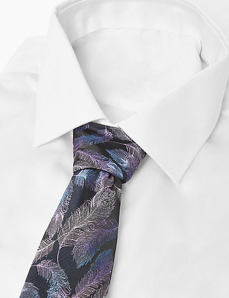 Slim Feather Embroidered Tie