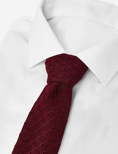Skinny Textured Knitted Square End Tie