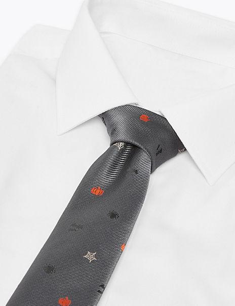 Slim Halloween Embroidered Tie