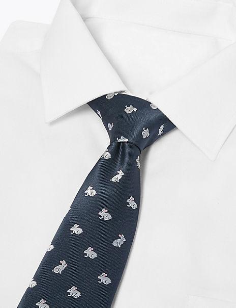 Rabbit Woven Slim Tie