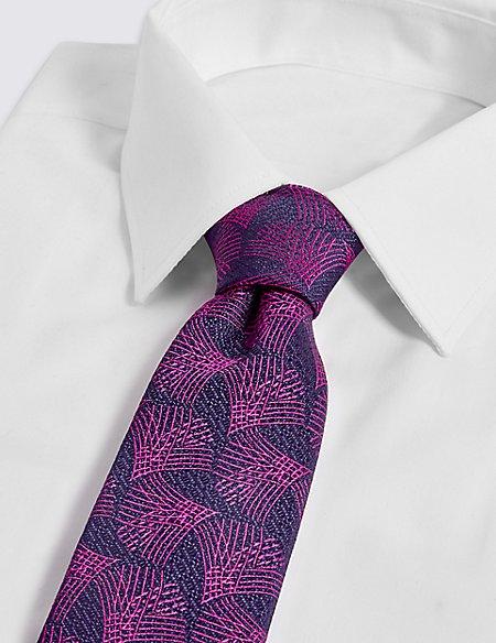 Pure Silk Geometric Print Tie