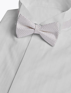Pure Silk Textured Bow Tie, CREAM, catlanding