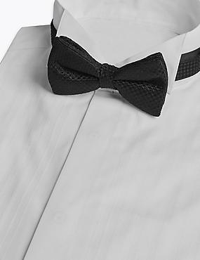 Pure Silk Textured Bow Tie, BLACK, catlanding