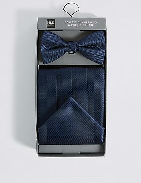 3 Piece Bow Tie, Cummerbunds & Pocket Square Set