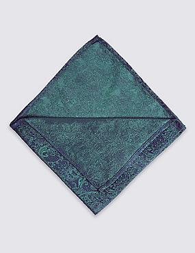 Pure Silk Paisley Bow Tie & Pocket Square Set, GREEN MIX, catlanding