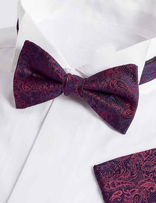 324ce931ca200 Pure Silk Paisley Bow Tie & Pocket Square Set   M&S Collection   M&S